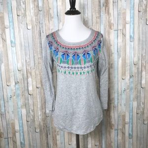 Anthropologie S Colorful Geometric Knit Tee Top